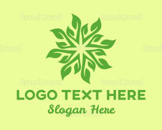 Agricultural - Spa & Yoga Leaves Pattern logo design