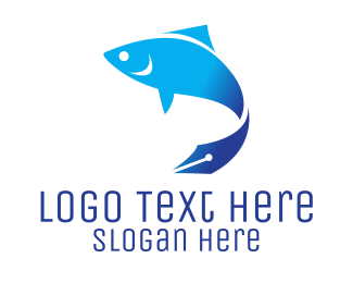 Blue Fish - Fish & Pen logo design