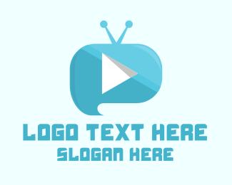 Tv Show - Blue Youtube Vlog logo design