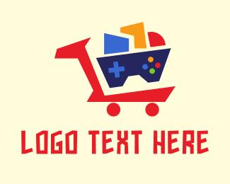 Ecommerce - Geometric Cart Gaming logo design
