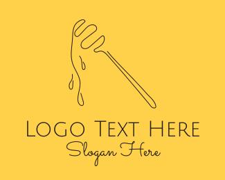 Bee Keeper - Minimalist Honey Dipper logo design