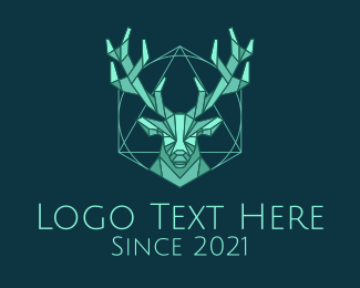 Stag - Green Geometric Deer logo design