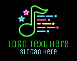 Music Note - Neon Music Note logo design