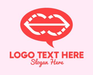 Lip Gloss - Romantic Lips Chat logo design