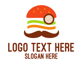 Monocle - Moustache Burger logo design