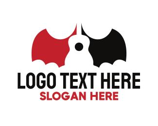 Dracula - Bat Guitar logo design