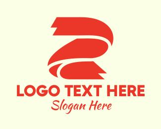 Two - Red Ribbon Letter Z logo design