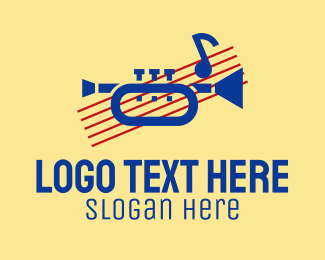 Brass Instrument - Retro Trumpet Music  logo design