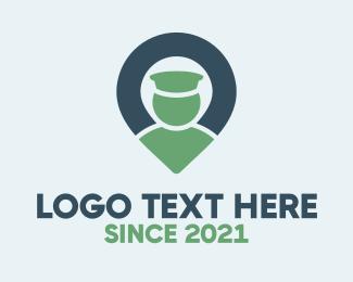 Negative Space - Blue & Green Locator logo design