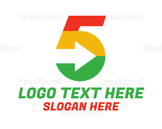 Fifth - Colorful Number 5 Arrow logo design