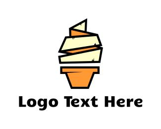 Yogurt - Origami Yellow Ice Cream logo design