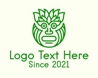 Tribal - Leafy Tribal Mask logo design