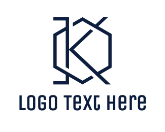 Initial - Blue Hexagon K logo design