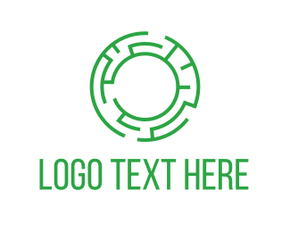 Coin - Green labyrinth logo design