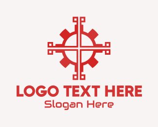 Service Center - Red Mechanical Gear logo design