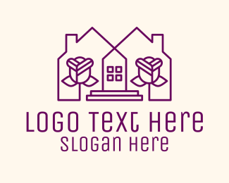 Home Garden - Violet Flower House logo design