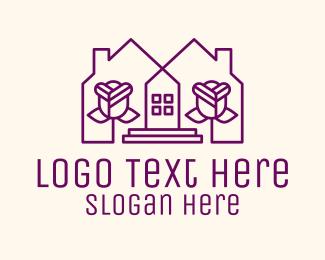 Home Rental - Violet Flower House logo design