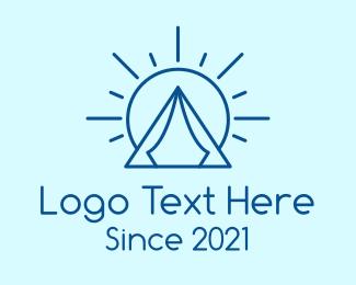 Camp - Summer Camping Tent Sun logo design