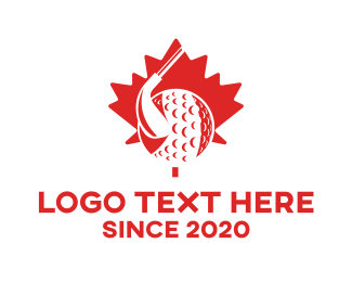 Golf Ball - Red Canada Golf Team logo design