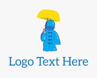 Weather - Rain Coat Umbrella logo design