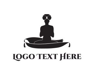 Aladdin - Carpet Man Silhouette logo design