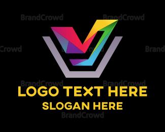 Exhibition - Colorful Letter V logo design
