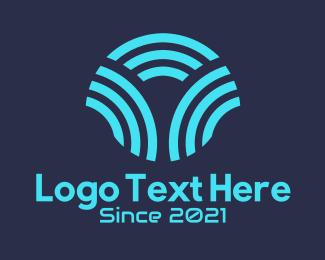 Wifi - Blue Wifi Networking  logo design