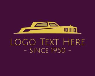 Antique - Vintage Golden Limousine logo design