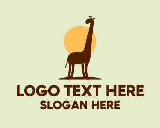 Zoo Animal - Cute  Brown Giraffe logo design
