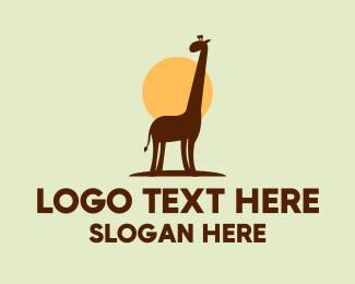 Brown - Brown Giraffe Silhouette logo design
