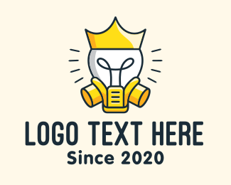 Gas Mask - Royal Light Bulb King logo design
