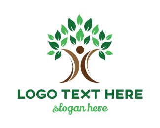 Therapist - Abstract Tree Person logo design