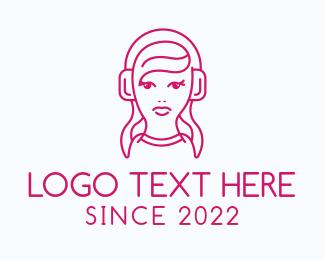 Dj - Pink Female DJ logo design