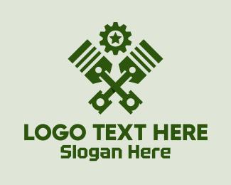 Fix - Military  Green Pistons logo design
