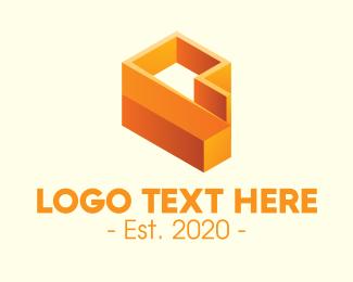 Company - 3D Orange Letter P logo design