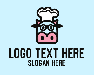 Milkman - Glasses Cow Chef logo design