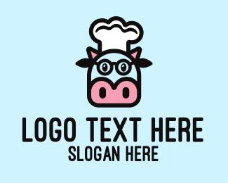 Glasses - Glasses Cow Chef logo design