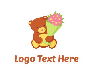 Gift - Teddy Bear Flowers logo design