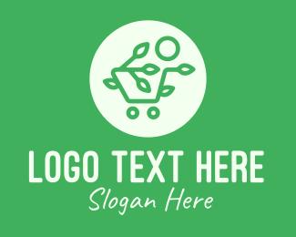 Enviroment - Green Eco Shopping Cart logo design