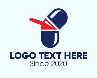 Caplet - Medical Pill Arrow logo design
