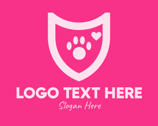 Paw Print - Pink Pet Care Shield logo design