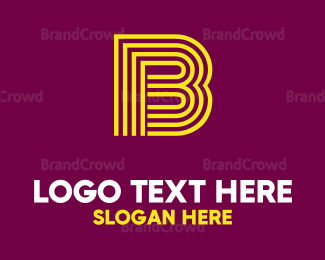 Computing - Striped Yellow Letter B logo design