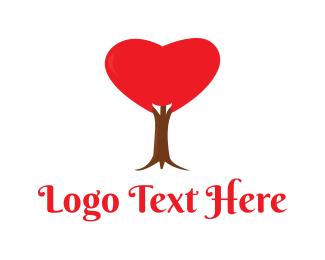 Dating App - Red Heart Tree logo design