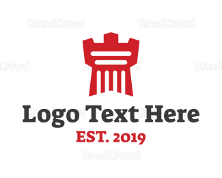 England - Red Castle Tower logo design