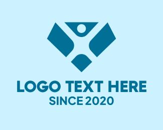 Cardio - Blue Person Diamond logo design