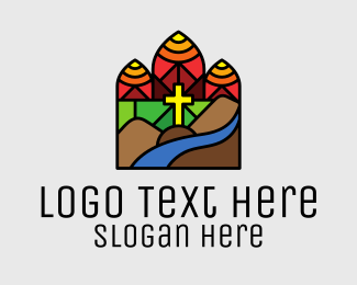 Pastor - Stained Glass Chapel Cross logo design