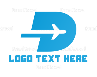 Commercial Plane - Blue D Airplane logo design