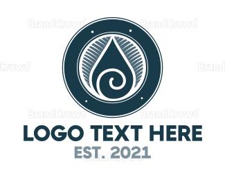 Drinking Water - Spiral Drop logo design