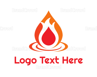 Campfire - Abstract Flame Droplet logo design