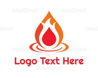 Burn - Abstract Flame Droplet logo design